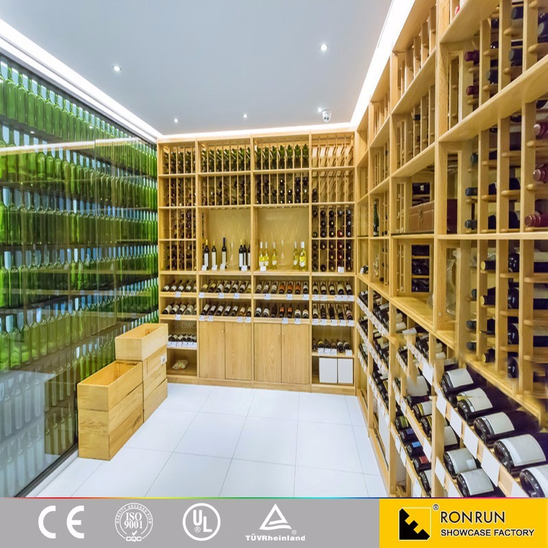 RWB5071 Large display amount! Wine cellar high quality MDF with veneer wood wine shelves with storage wine rack