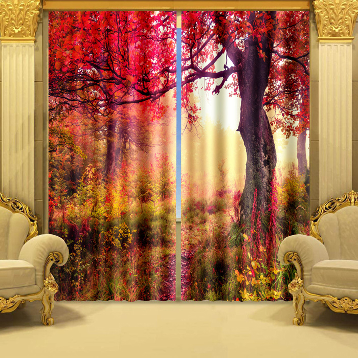 Custom Polyester Fabric 3D Shower Window Curtain floral printed living room curtain