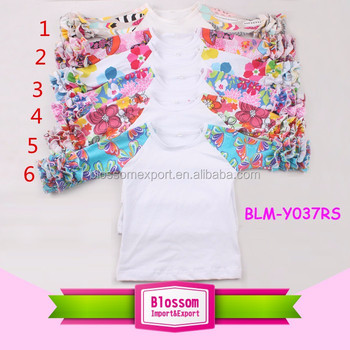 Hot sale cotton 3/4 sleeve baby girls printed color ruffle raglan shirt floral girl raglan