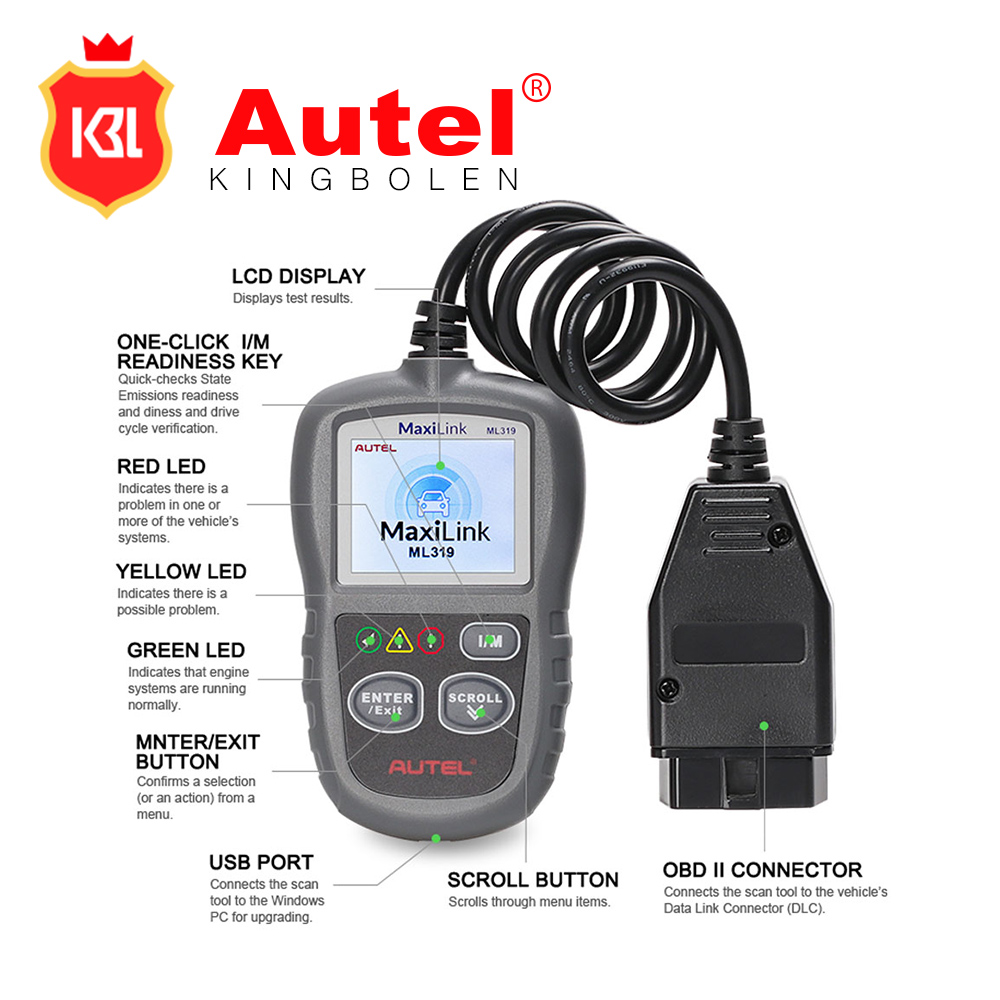 Features the unique patented One-Click I/M Readiness Key Autel Maxilink ML319 OBD II & CAN obd code scanner