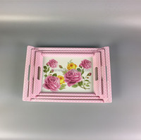 pink rose and point design custom printed melamine fruit serving tray with handles 3pcs food serving tray included