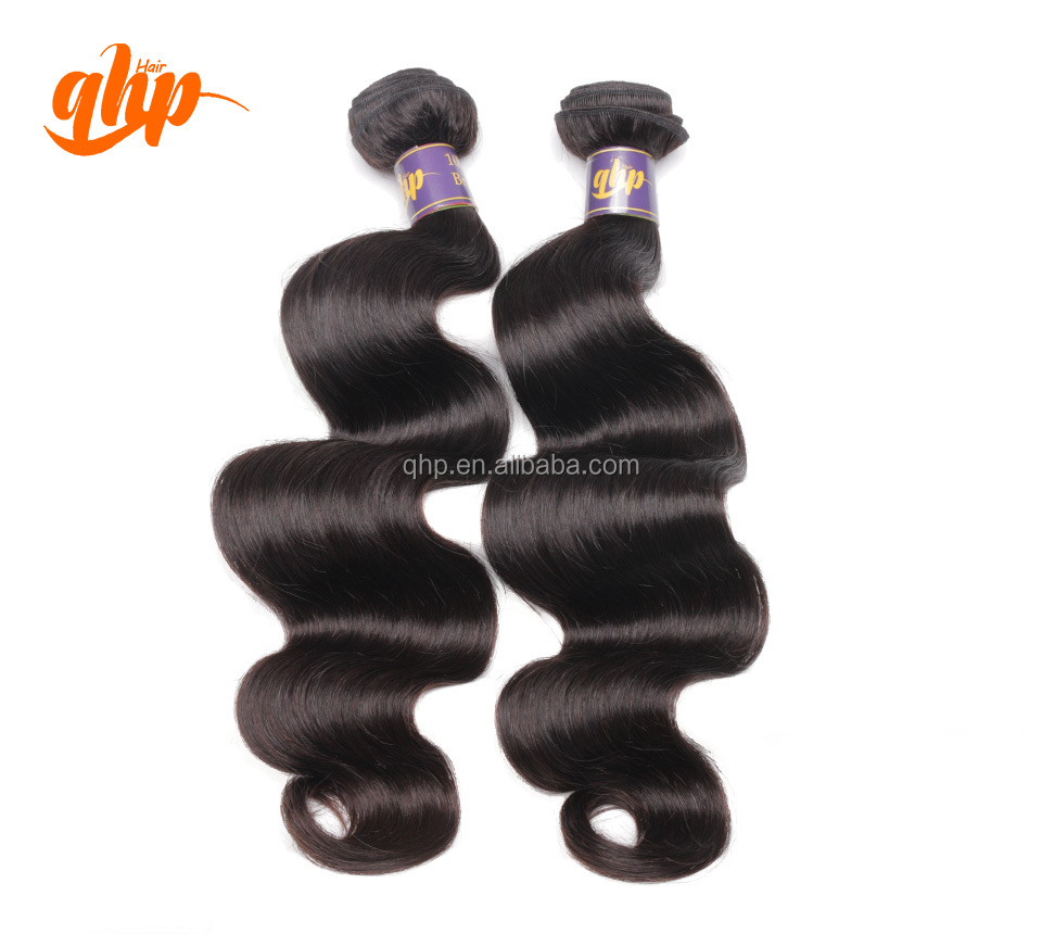 QHP guangzhou human hair grade 100% unprocessed virgin sew in weave brazilian hair extensions vendors