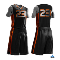 Sublimation printed dri fit black basketball uniform design for men