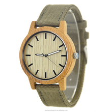 Latest Design Quartz Bamboo Watches Men , Canvas Strap China Custom Bamboo Watch Men