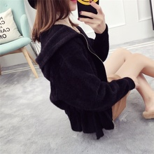 Teens Winter Beautiful Sweaters For Woman Imitation Mink Velvet Short Cardigan