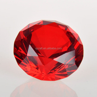 Red Round Crystal Glass Big Diamond Paper weight Present SJ-ZS481