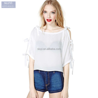 sweet bow tie puff sleeve shirts women white blouses shoulder hollow round neck loose casual new fashion chiffon blouse 2017