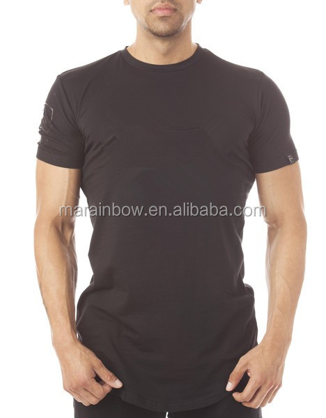 Mens Short Sleeve Longline Curved Hem T Shirt 94% Cotton 6% Spandex Plain Gym Fitted T Shirt Plain Elongated T-Shirt