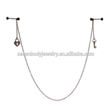 Slave to you Love Barbell Nipple Chain body jewelry