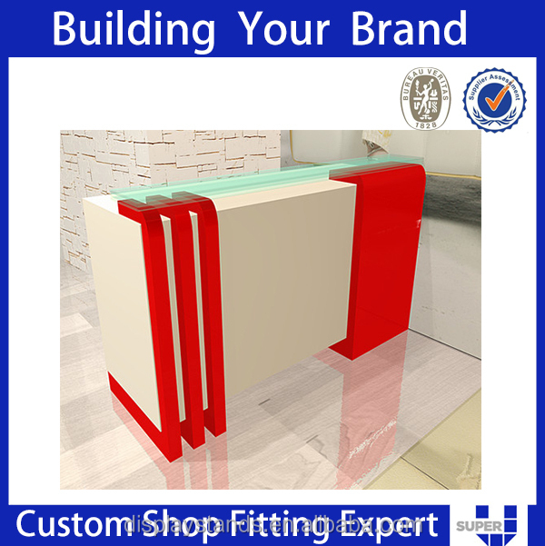 New white clothes shop step counters top display case for shoes