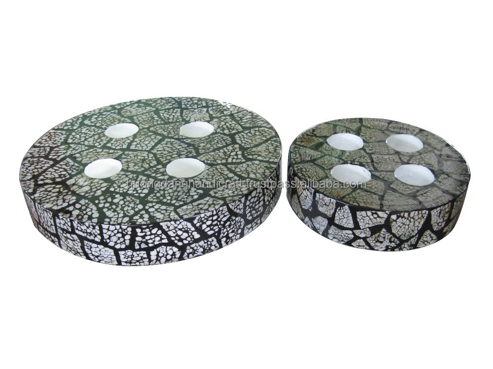 Set of 2 round T-light holders with puzzle eggshell inlay, refined style product from Vietnam