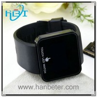 Hot Fashion Mirror Date Black LED Digital Sport Unisex Silicone Wrist Watch