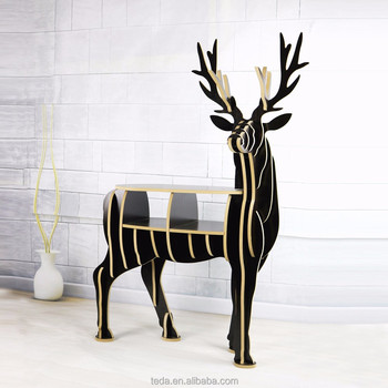 Eco-Friendly cheap modern beautiful musk deer shape table wooden life size furniture desk