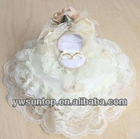 Cheap Lace heart shape ring pillow satin Love Rose wedding decoration favors china
