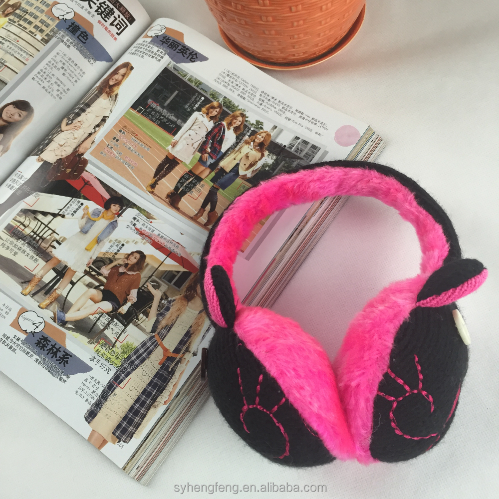 Wholesale knit ear muff warm unisex earmuffs with animal print