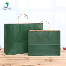 Hot sale different size green kraft paper shopping bag