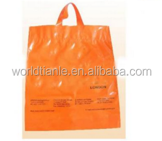 Custom PE Material plastic soft loop bagC mesh shopping bag factory