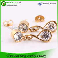 2014 alibaba china supplier stainless steel jewelry manufacturer gold ear tops designs wedding drop earrings