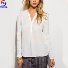 white semi sheer chiffon contrast indian collar designs long sleeve blouse top