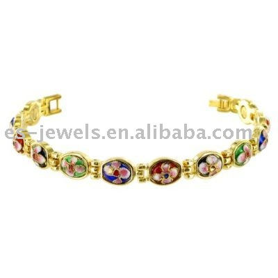 Enamel Flower Gold Plated Link Alloy bracelet