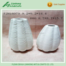 Cheap garden decoration handmade white cone flower vase