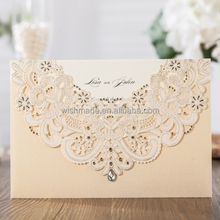 WISHMADE New Neck Lace Laser Cut Wedding Invitations Design with Hollow Flora Favors, Cards Kit Customizable CW6115