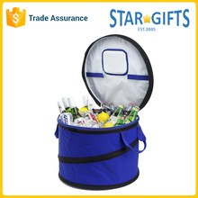 Custom 48 Can Large Blue Insulated Round Beer Cooler Bag With Carrying Handles