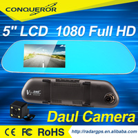 170 degree wide view angle 5.0 inch car rearview mirror video recorder