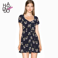 2015 women fashion A-line dress sweet cats print waisted dress for wholesale haoduoyi