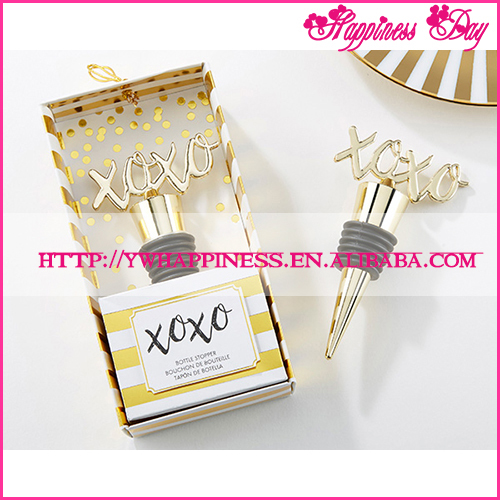 New In Stock-XOXO Gold Bottle Stopper Golden Metal Wine Stopper Favors Wedding Bridal Souvenir Return Gift