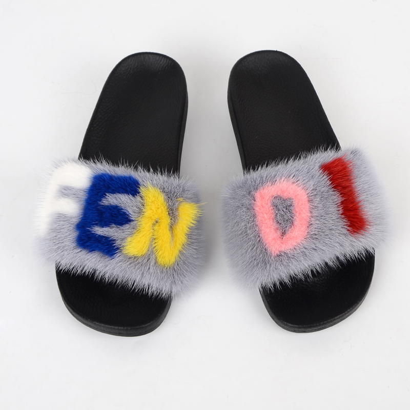 Custom fashion designer real fur indoor mink <strong>slippers</strong>