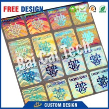 Customized top quality various design PET material 3d holographic gold foil sticker