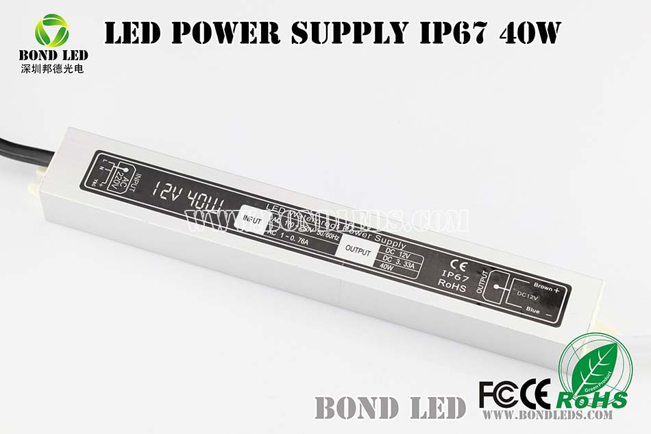 40W led waterproof IP67 led power supply & led driver 3 years warranty 40W