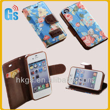 Cheap High Quality Protective Wallet Magnet Leather Case for Iphone 4
