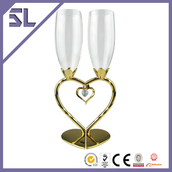 2016 Valentine's Day Promotion Design Romantic Heart Shaped Golden Plating Wine Glasses, Wine Glasses Could Pass Food Grade Test