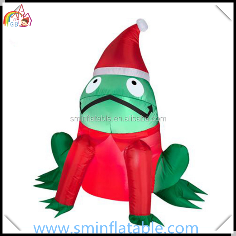 Christmas inflatable led lighted green frog, led inflatable frog model for outdoor decor, frog cartoon animal for sale