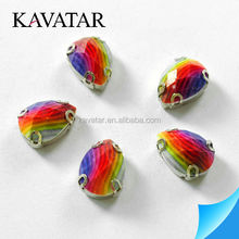 2014 latest rainbow color waterdrop fancy rhinestone with metal claw