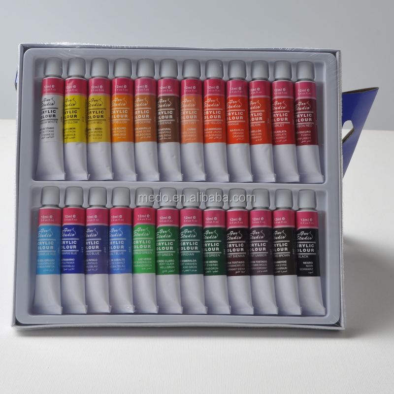 Non-toxic high quality 24 colors aluminum tube acrylic paint set