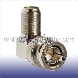 right angle 75 ohm bnc male to f female conector adapter