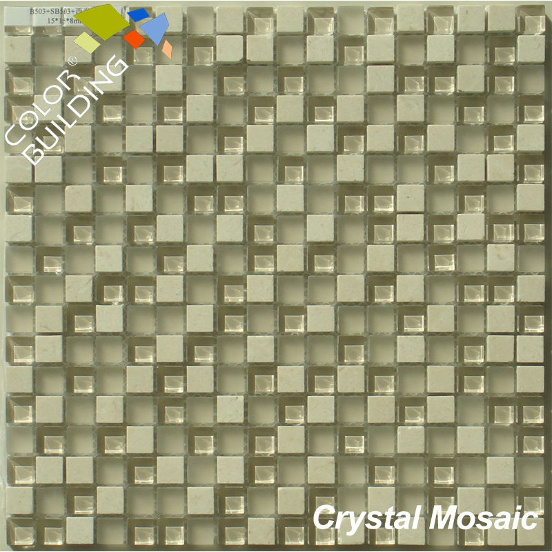 stone mix glass mosaic tile 15x15 mm
