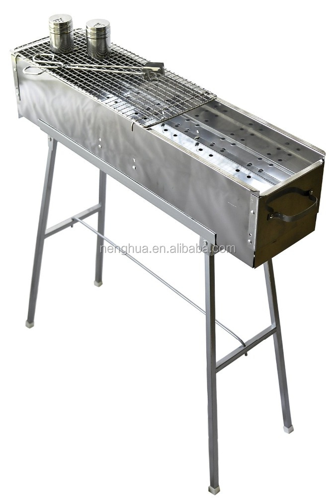 "Party Griller 32"" Stainless Steel Charcoal Grill with Skewer"