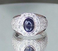 Certified 925 Sterling Silver Jewelry wholesale 2.36 cts Natural Blue Sapphire white Topaz men engagement ring Thailand