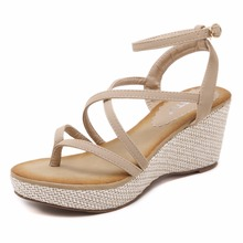 Wholesale summer 2014 latest fancy high heel sex girl style leather comfortable beach ladies wedge sandals