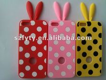 new design multi-colored rabbit silicone cell phone case for iphone5 with different colors