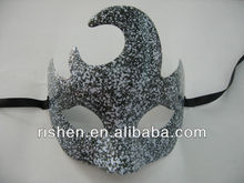 2013 hot sale silver glitter plastic mask halloween christmas mask