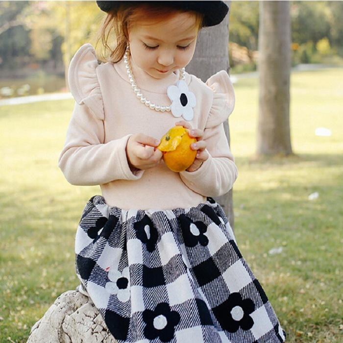 F40319A Kids clothes winter korean boutique girl clothing frock design