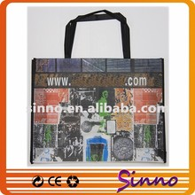 Fashion recycle promo eco-friendly rpet lamination spunbond nonwoven advertising shopping tote bag for food