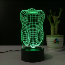 Tooth led night light for kids teen baby 3d illusion lamp birthday party gift anniversary present multi color changing