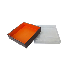 Pretty orange inside clear plastic PET cover chocolate gift box