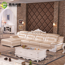 Luxury European French Style Living Room Salon Furniture I Shape Leather Wooden Corner Sectional Sofa Set
